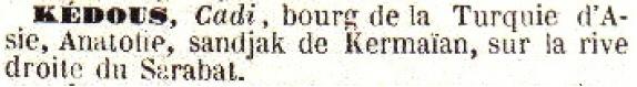 Entrée Kédous / Cadi dans le dictionnaire de géographie Bescherelle de 1857