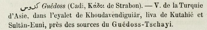 "Guédoss in ""Dictionnaire géographique de l'empire ottoman"" - C. Mandras - 1873"