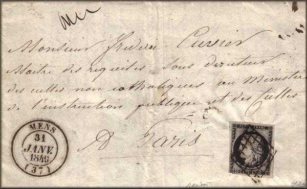 lettre de Mens (Isère) à Paris du 31 janvier 1849 avec timbre Ceres