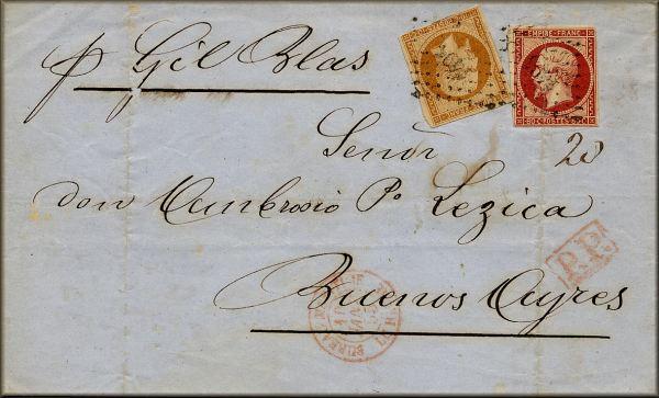 Lettre du Havre à Buenos Ayres / Buenos Aires (Argentine) du 10 Janvier 1855