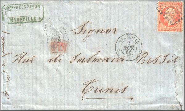 Lettre de Marseille à Tunis du 2 novembre 1866