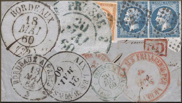 Lettre de Bordeaux à Aix les Bains (Savoie) du 18 mai 1860