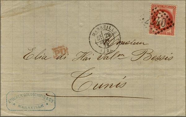 Lettre de Marseille à Tunis du 29 septembre 1871