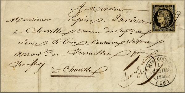Lettre de Ribécourt à Chaville du 15 mars 1850 affranchie avec un timbre Cérès