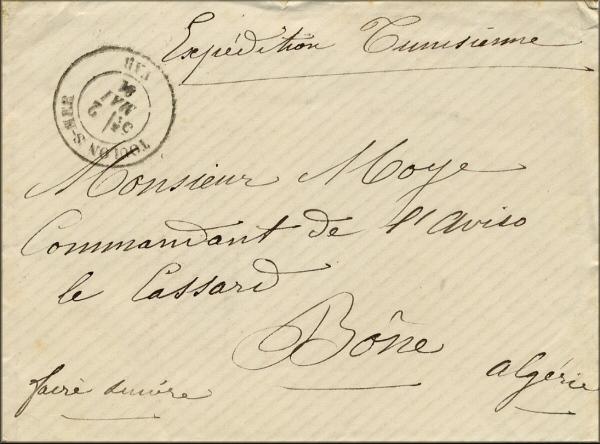 Lettre de Toulon sur Mer à Bône / Annaba (Algérie) du 2 mai 1881